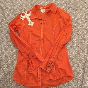 Ariat Orange Cross Rodeo Shirt